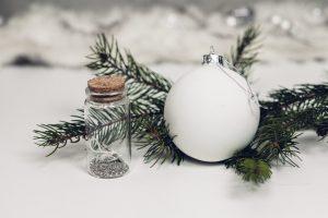 jõulukuuse oks ja valge jõuluehe